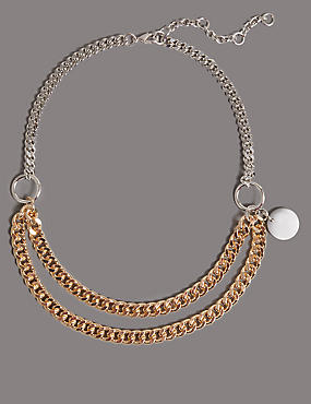 Double Chain Collar Necklace, , catlanding