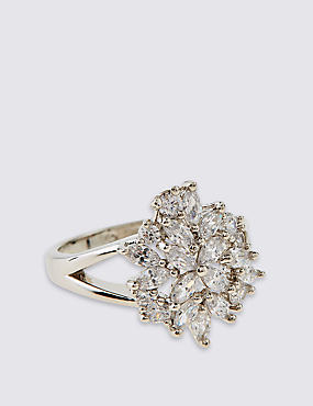Platinum Plated Floral Ring