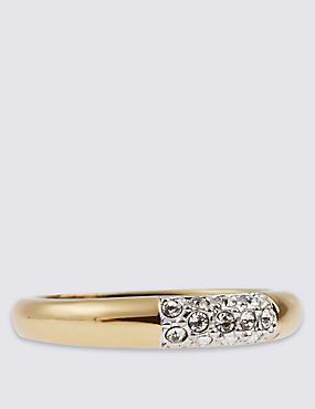 Gold Plated Pavé Diamanté Ring, GOLD MIX, catlanding