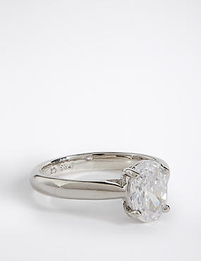 Platinum Plated Diamanté Oval Cut Ring