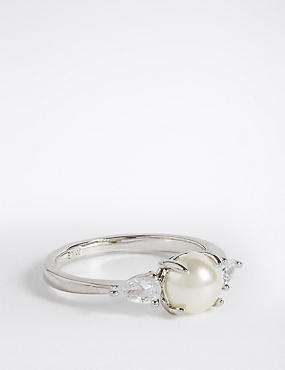 Platinum Plated Pearl Ring