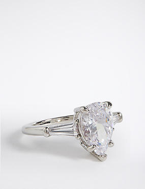 Platinum Plated Diamanté Teardrop Ring