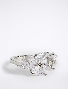 Platinum Plated Diamanté Flower Ring