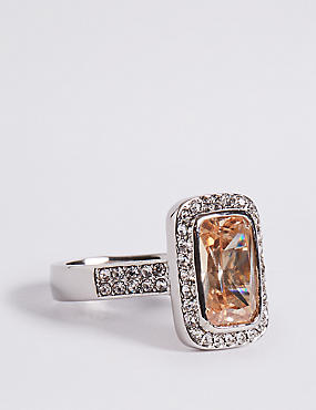 Platinum Plated Diamanté Ring