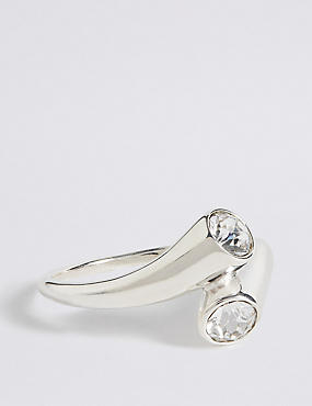 Sterling Silver Double Crystal Ring
