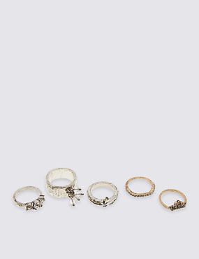 5 Pack Diamanté Rings