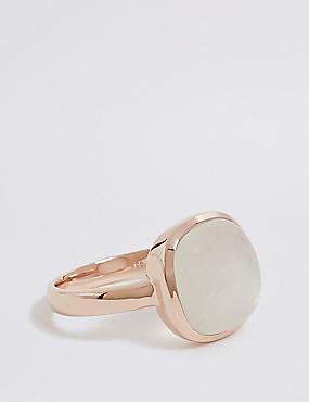 Sterling Silver Square Moonstone Ring, ROSE, catlanding