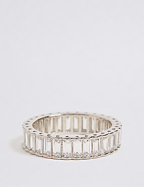 Platinum Plated Baguette Band Ring