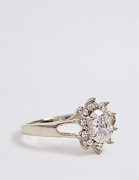 Platinum Plated Oval Ring, SILVER, catlanding