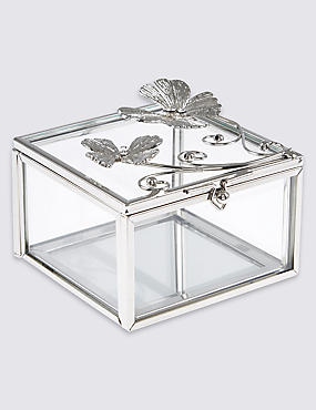Flutter Metal Diamanté Butterfly Jewellery Box