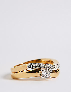 Gold Plated Wedding Band Duo Rings