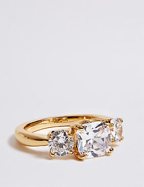 The Duchess Diamanté Three Stone Ring