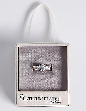Platinum Plated Trio Classic Diamanté Ring, WHITE MIX, catlanding