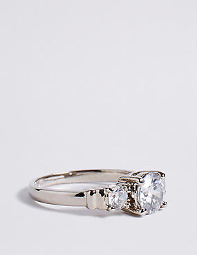 Platinum Plated Trio Classic Diamanté Ring