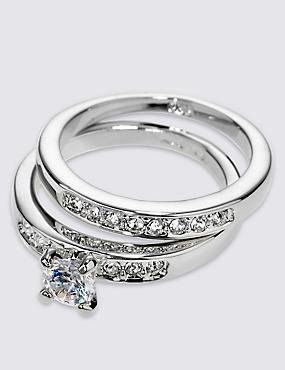 Platinum Plated Diamanté Rings, SILVER MIX, catlanding