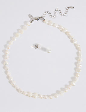 Fresh Water Pearl Classic Necklace & Earrings Set