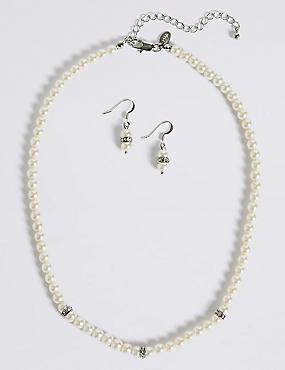 Pearl Effect Diamanté Ring Necklace & Earrings Set