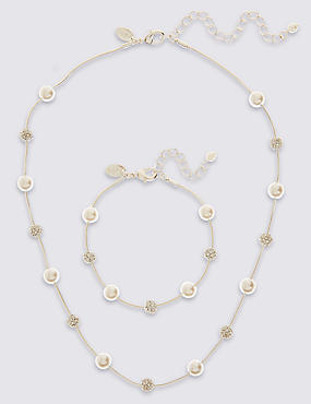Pearl Effect Necklace & Bracelet Set