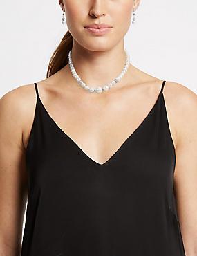 Pearl Effect Necklace & Earrings Set, , catlanding