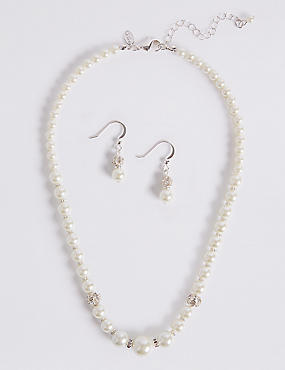 Pearl Effect Necklace & Earrings Set