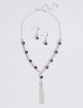 Silver Plated Tassel Necklace & Earrings Set