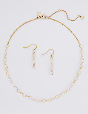 Gold Plated Necklace & Earrings Set, , catlanding