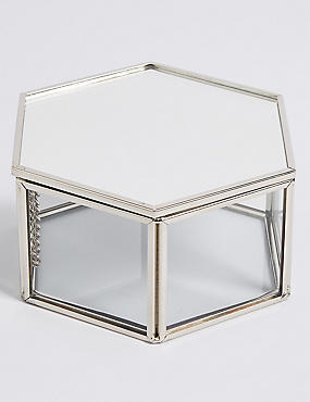 Hexagon Glass Trinket Box