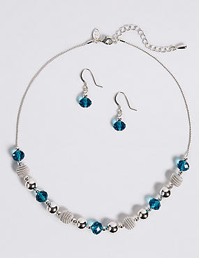 Snails Glass Necklace & Earrings Set, BLUE MIX, catlanding