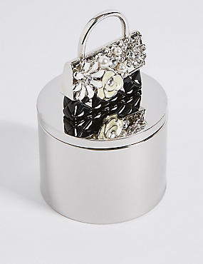 Diamanté & Pearl Effect Encrusted Bag Trinket Box