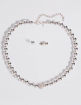 Silver Plated Sparkle Diamanté Necklace & Earrings Set