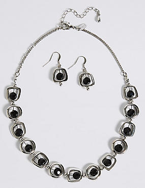 Trapped Bred Shape Nacklace & Earring Set