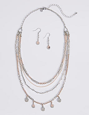 Sparkle Disc Necklace & Earrings Set
