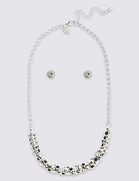 Diamanté Bow Necklace & Earrings Set