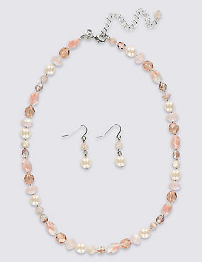 Glass Bead Necklace & Earrings Set
