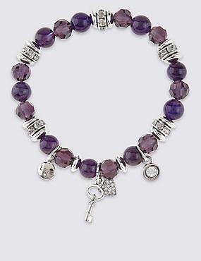Diamanté Charm Stretch Bracelet, , catlanding
