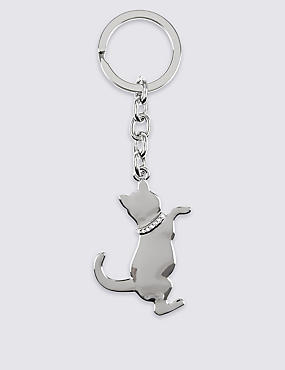 Diamanté Cat Keyring, , catlanding