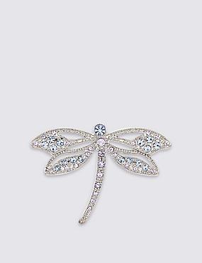 Diamanté Dragonfly Brooch, , catlanding