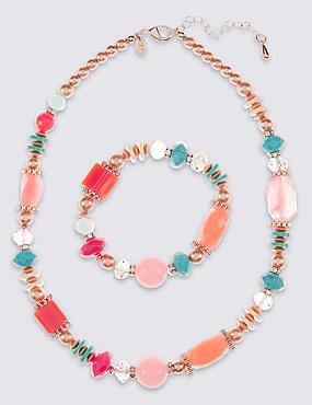 Luxe Beaded Necklace & Bracelet Set