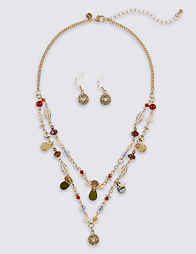 Charmy Beaded Necklace & Earrings Set