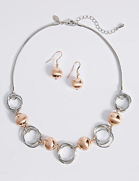 Ball Link Necklace & Earrings Set