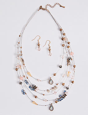 Sequin Wire Necklace & Earrings Set