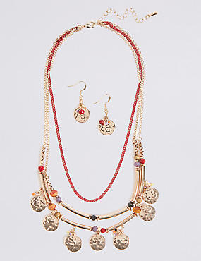 Triple Row Layered Necklace & Earrings Set