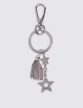 Tassel Double Pave Star Keyring