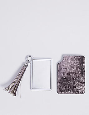 Faux Leather Metallic Keyring & Compact Set  , , catlanding