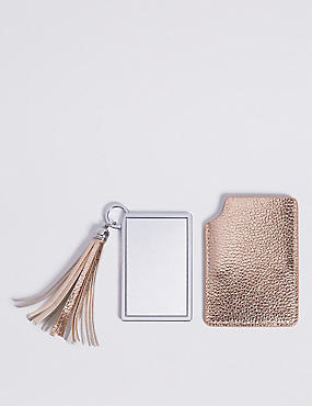 Faux Leather Metallic Keyring & Compact Set, , catlanding