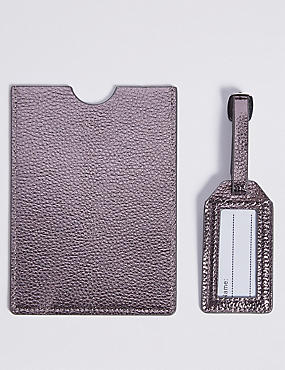 Faux Leather Passport Holder & Tag Set