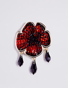 Flower Rocks Brooches with Swarovski® Crystals, , catlanding