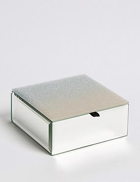 Glass Small Champagne Jewellery Box , , catlanding