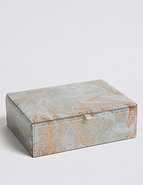 Glass Medium Marble Jewellery Box , , catlanding