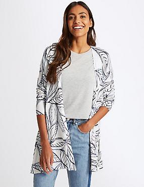 Leaf Print Long Sleeve Cardigan , WHITE MIX, catlanding